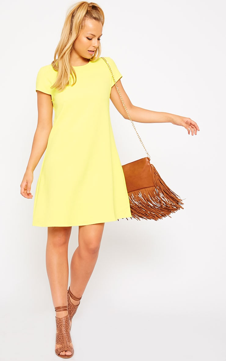Sabra Yellow Waffle Loose Fit Shift Dress 3