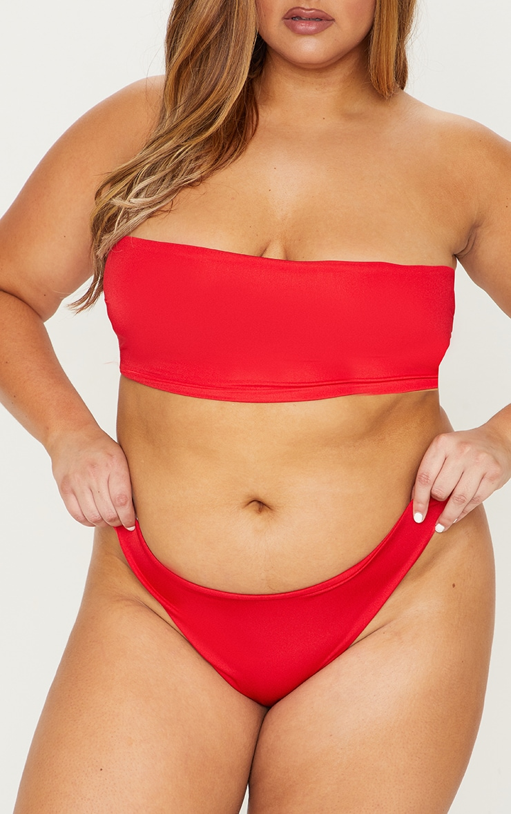 Plus Red Mix & Match Super High Leg Brazilian Bikini Bottom 1