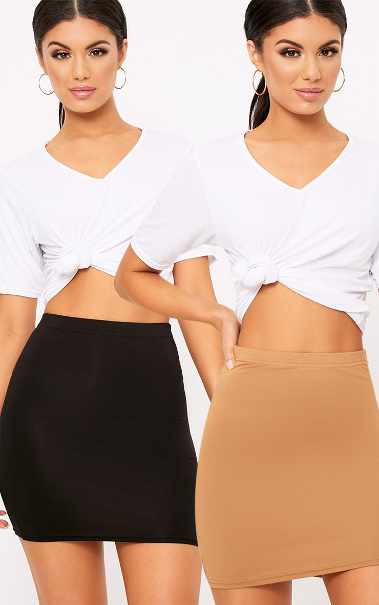 Basic Black & Camel Jersey Mini Skirt 2 Pack 1