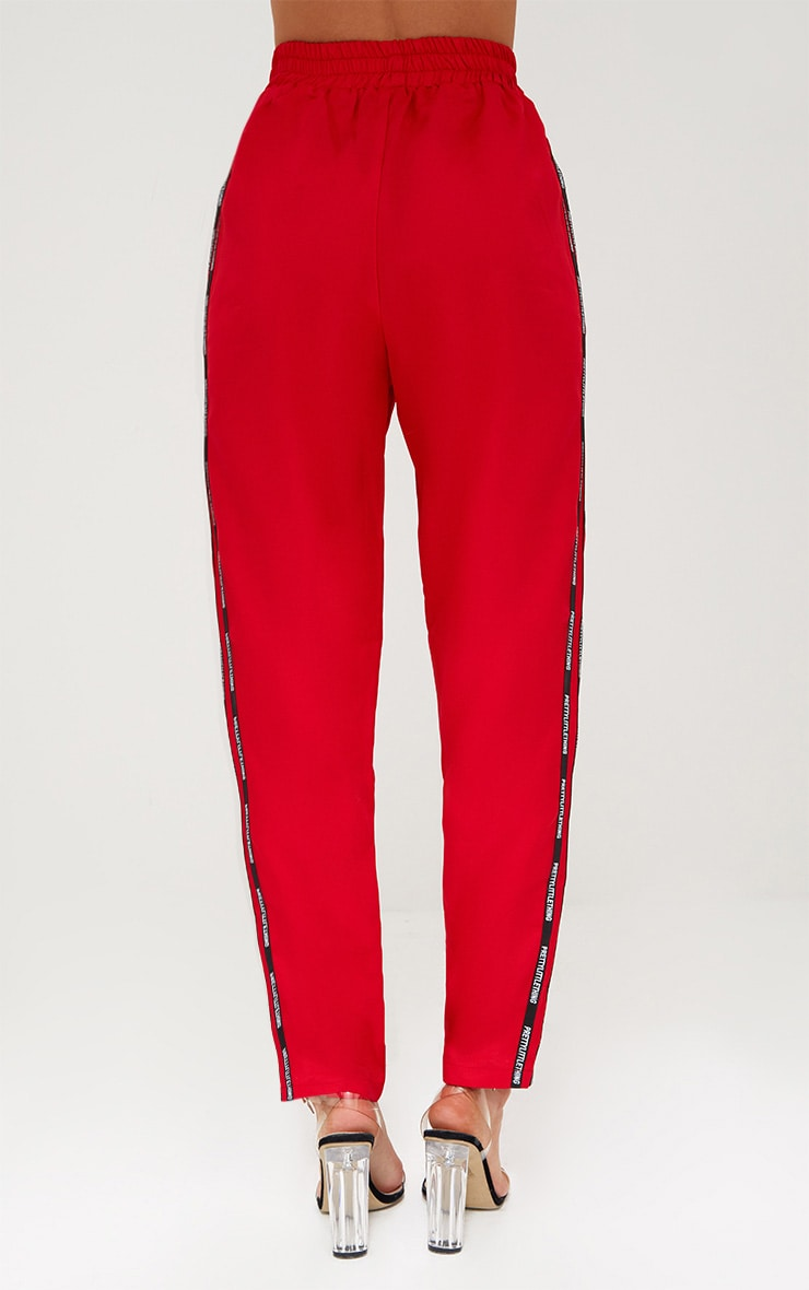 PRETTYLITTLETHING Red Stripe Track Pants 4