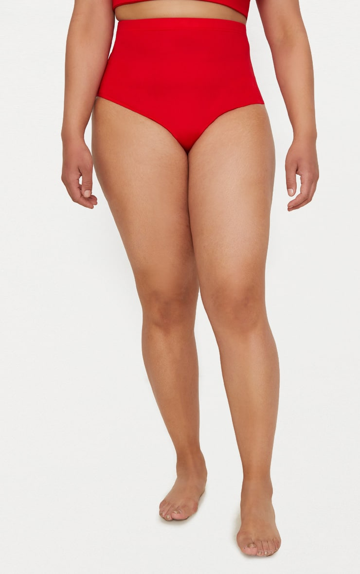 Plus Red Halterneck High Waist Bikini Set 6