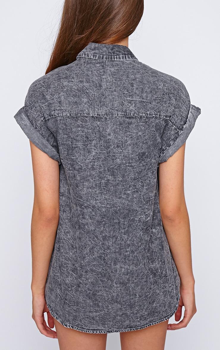 Petra Black Wash Button Up Shirt  2