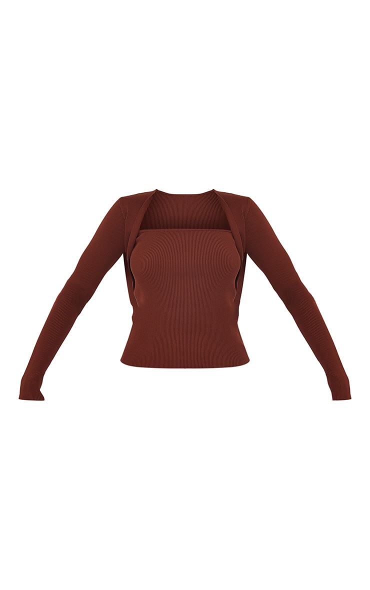 Chocolate Ribbed Knitted Long Sleeve Top 5