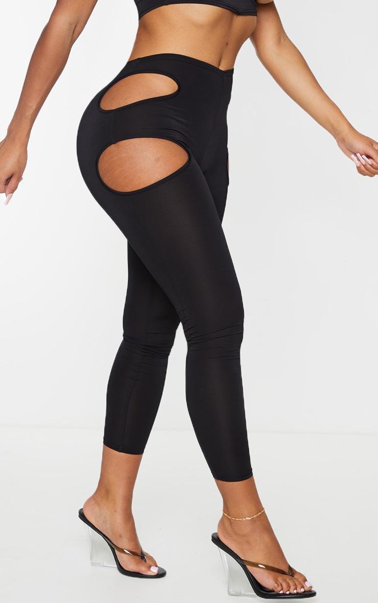 Shape Black Slinky Cut Out Side Leggings 2