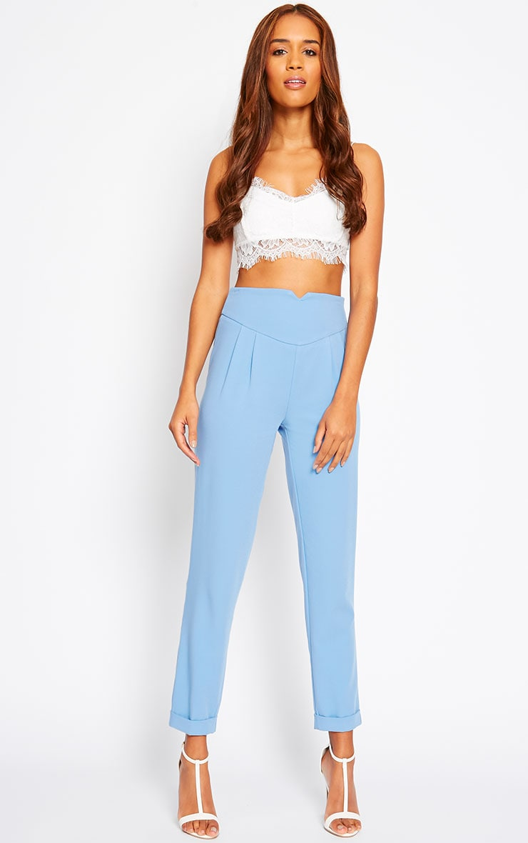 Elenor Blue High Waisted Tapered Pants 5