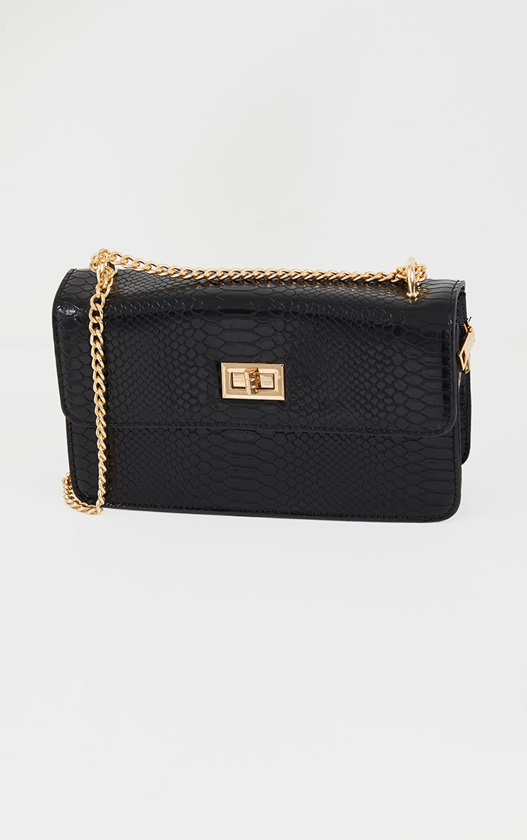 Black Croc Chain Cross Body Bag 2