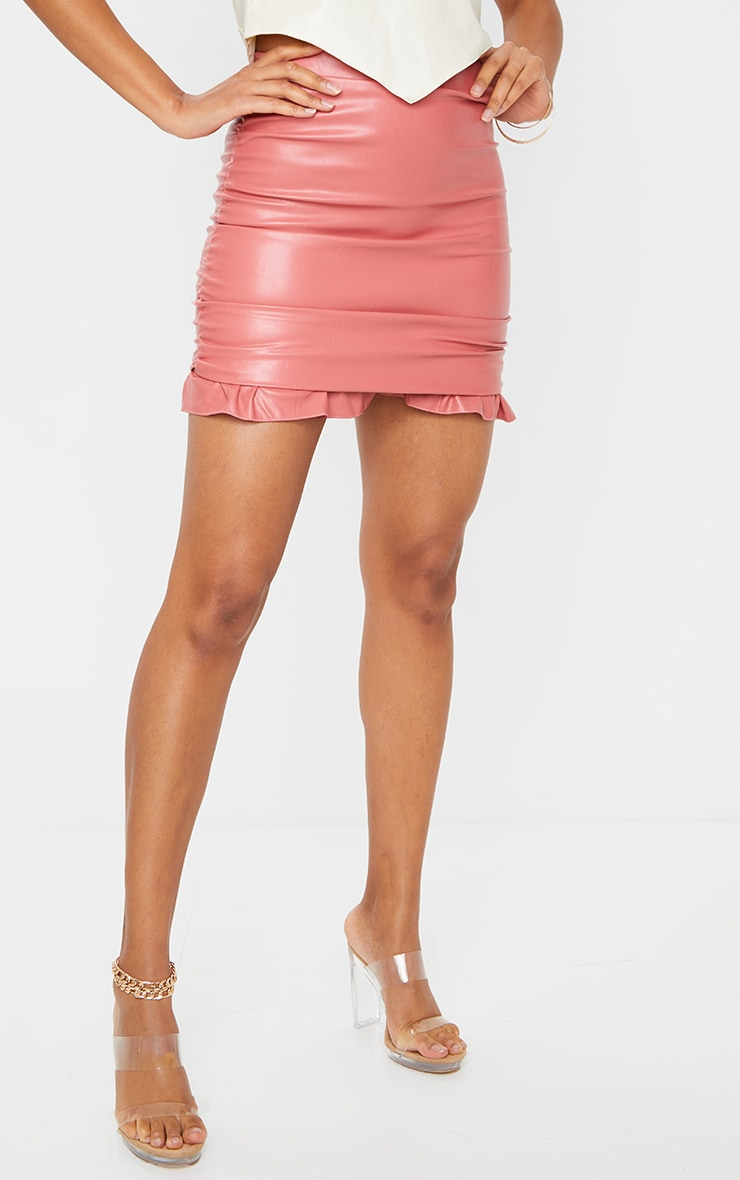 Pink Ruched Leather Mini Skirt 2