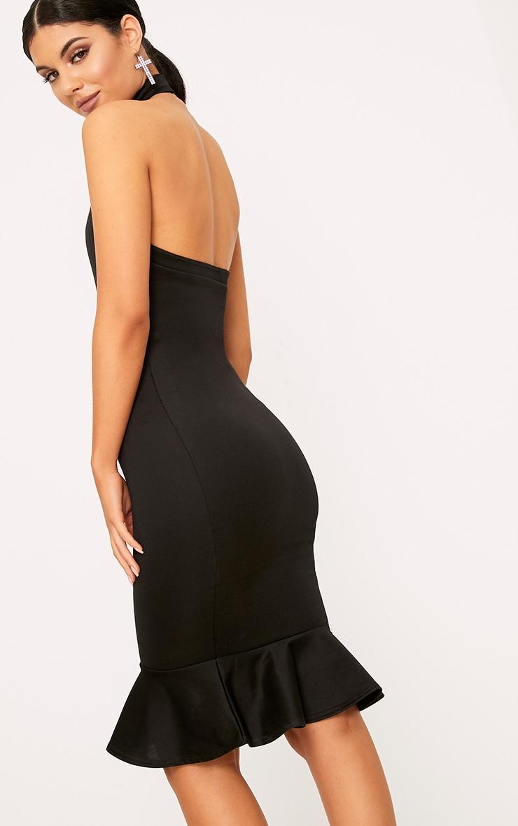 Black High Neck Frill Hem Midi Dress 2