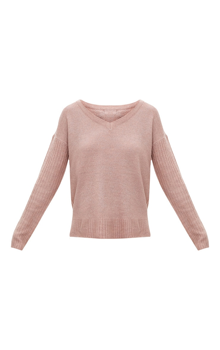 Pink Drop Shoulder Rib Sleeve Jumper 3
