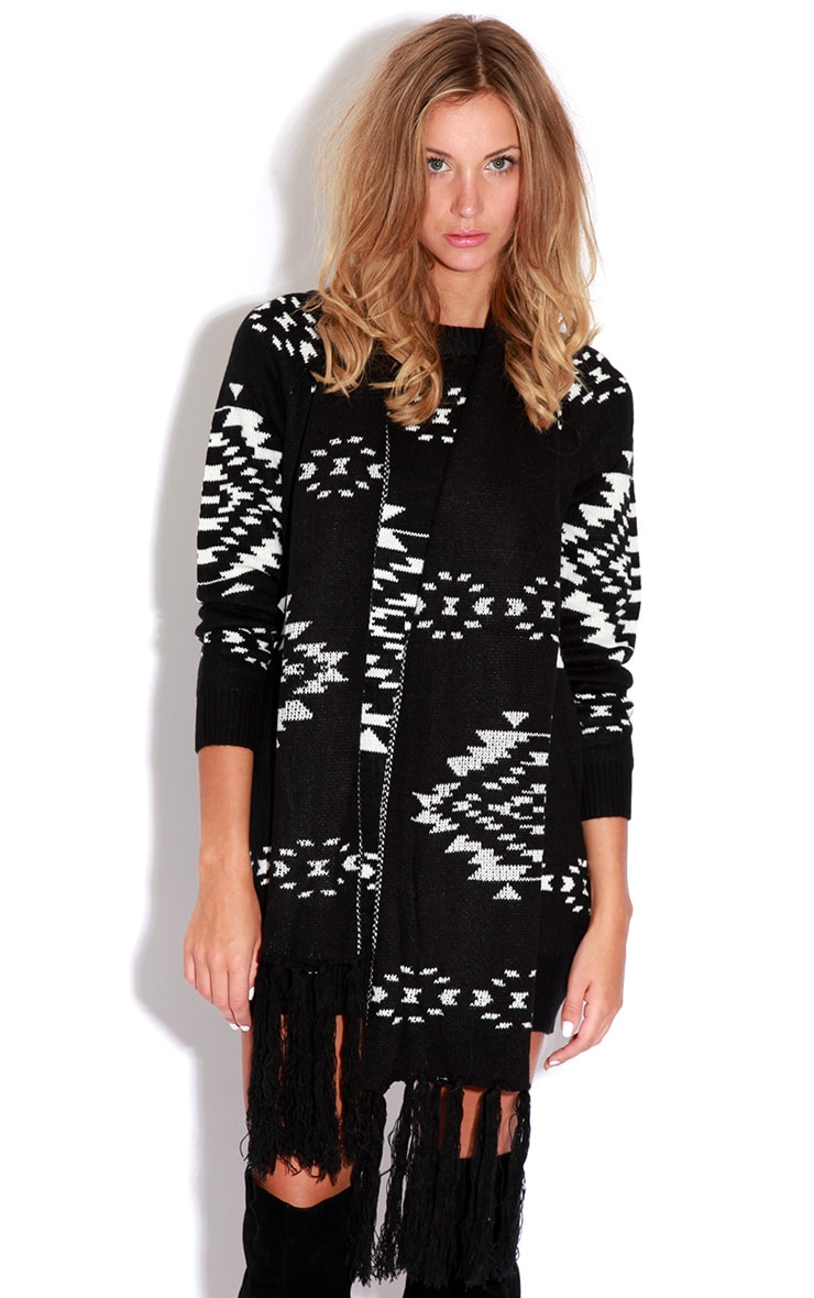 Nadia Aztec Knitted Jumper Dress And Scarf Set 1