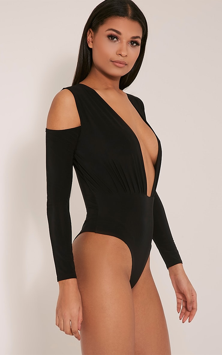 Sali Black Cold Shoulder Bodysuit 2