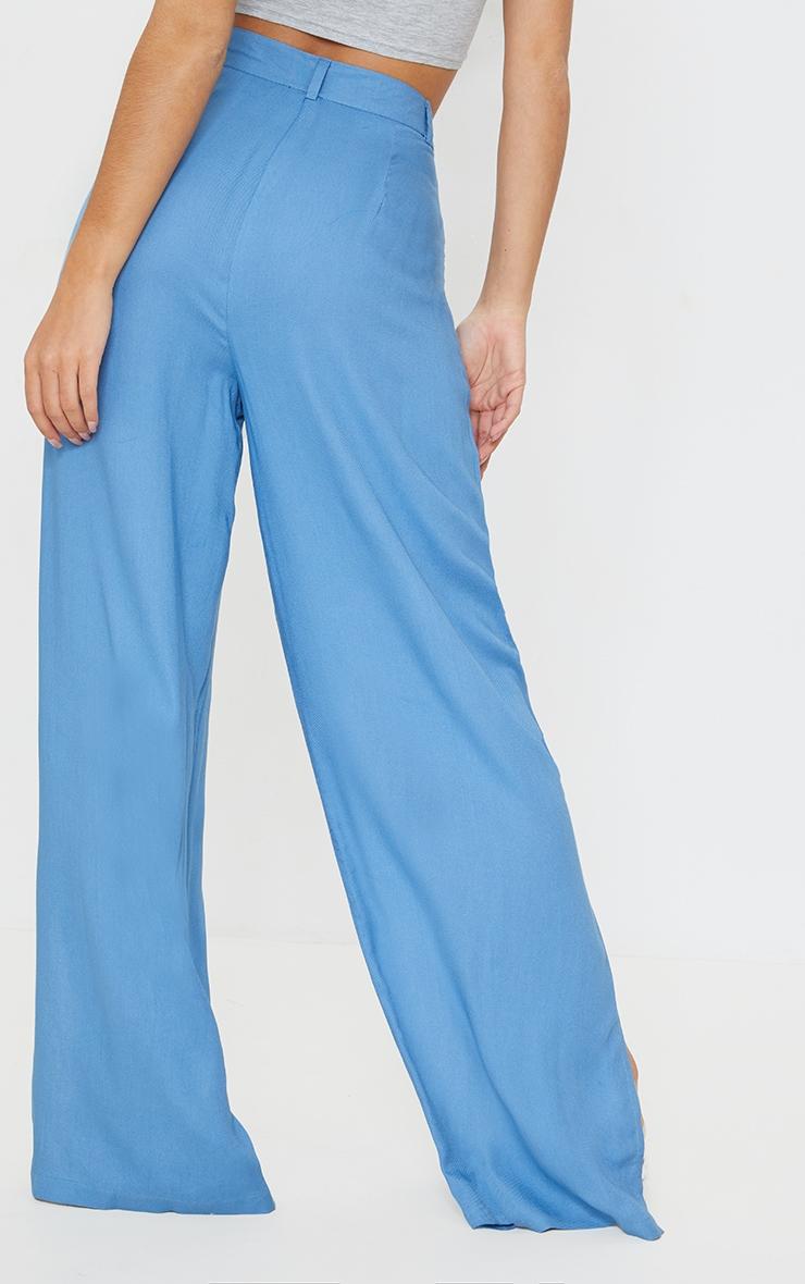 Blue Woven Wide Leg Extreme Split Pants 3