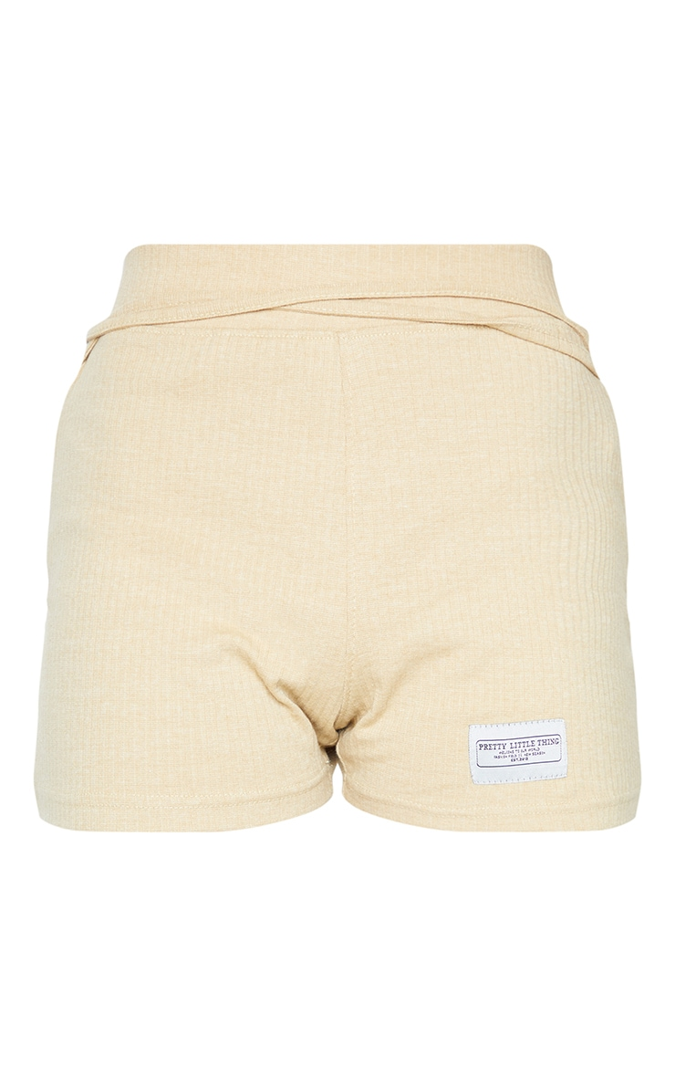 PRETTYLITTLETHING Stone Badge Rib Tie Waist Detail Hot Pants 6