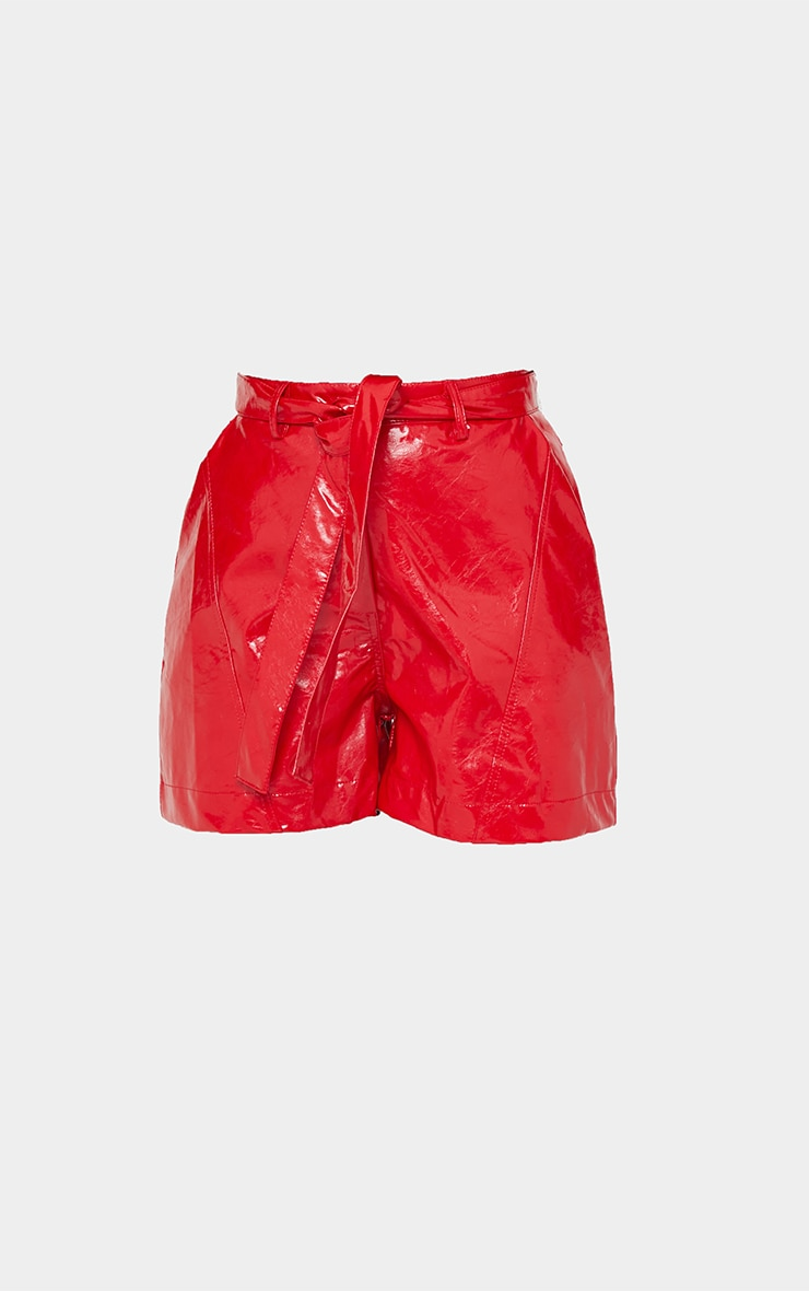 Red Vinyl Belted Shorts 6