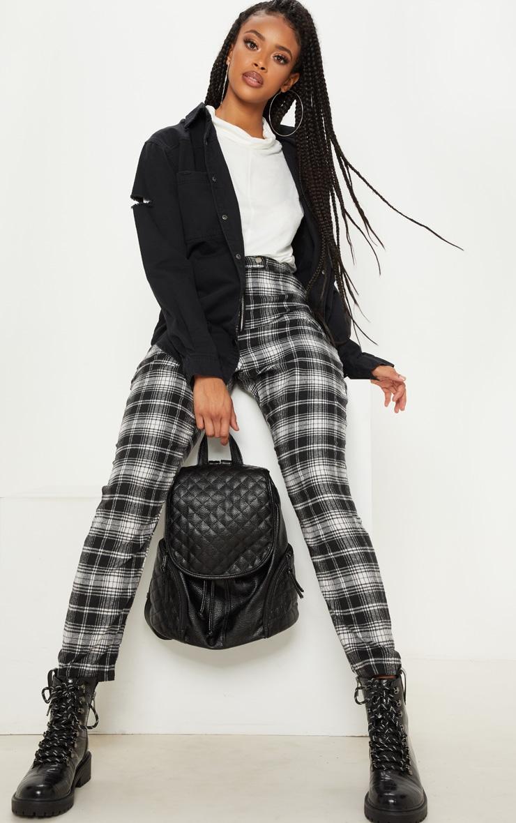 Monochrome Popper Front Check Slim Leg Trouser 1