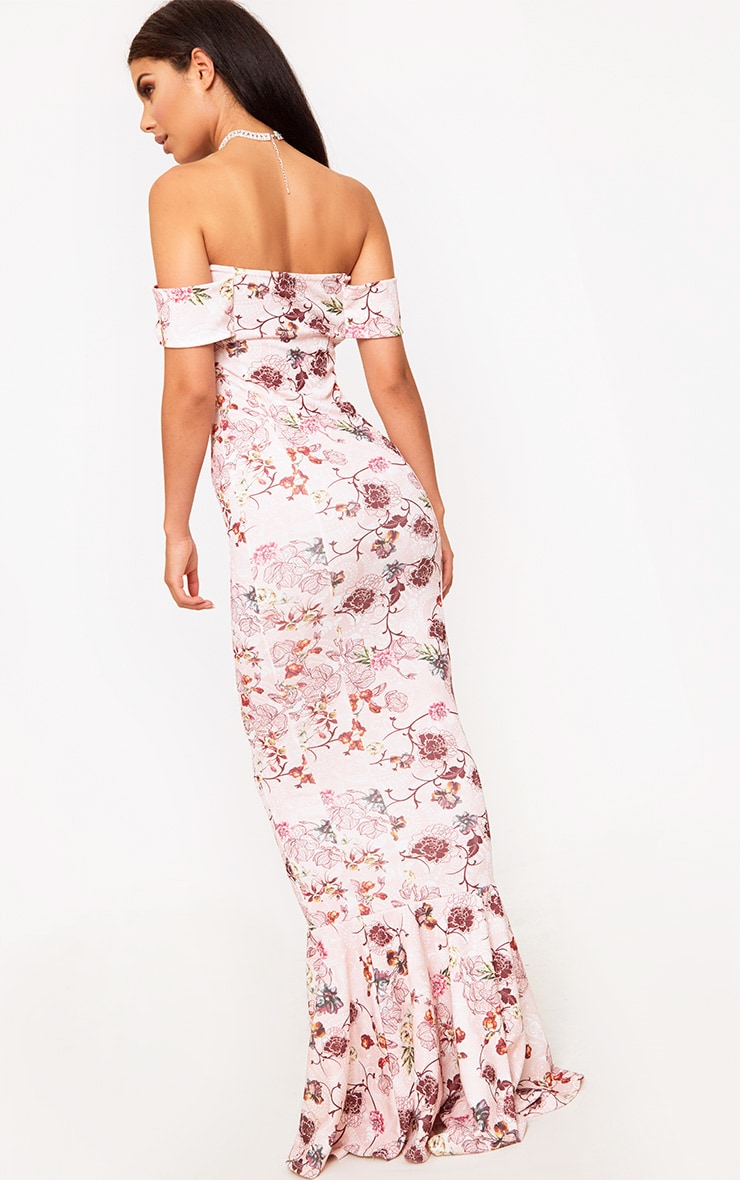 Pink Floral Bardot Frill Hem Maxi Dress 2