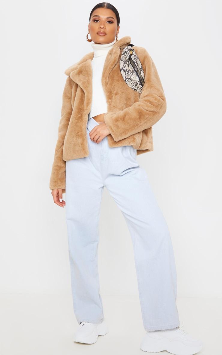 Beige Faux Fur Collar Coat 1