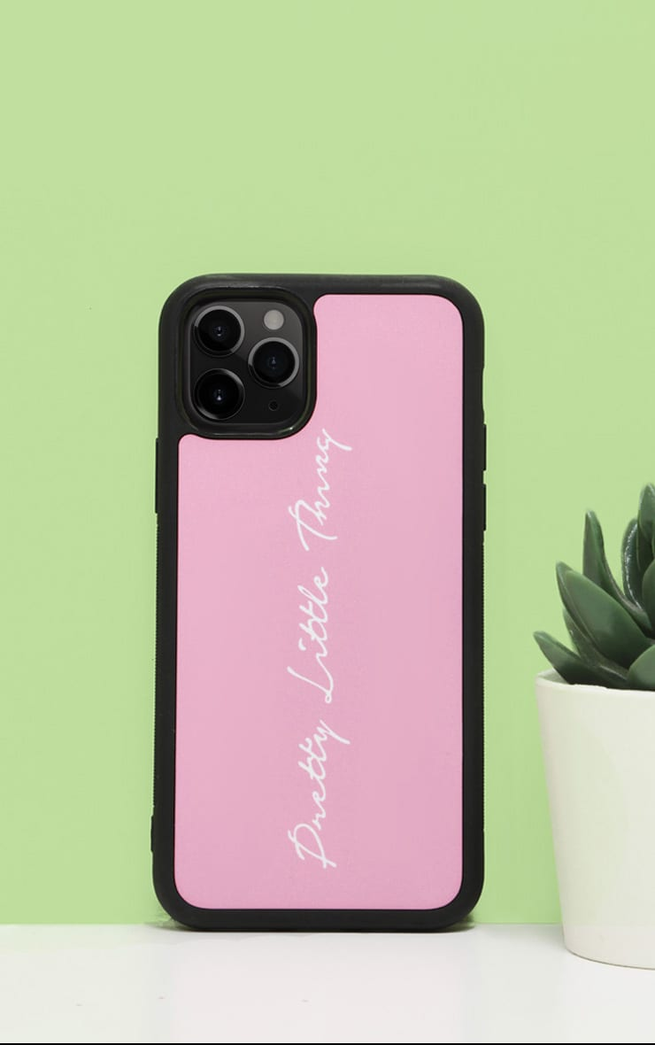 PRETTYLITTLETHING Baby Pink Scribble Logo 11 Pro Case 1