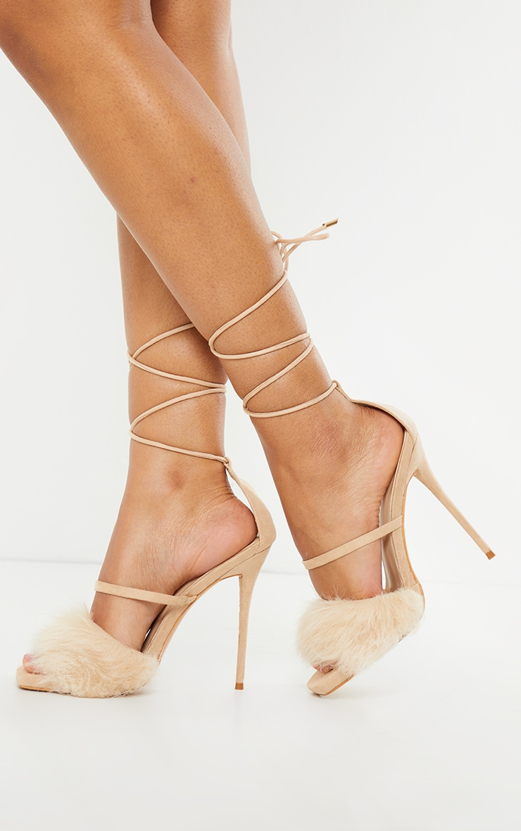 Nude Faux Fur Lace Up High Heels 1