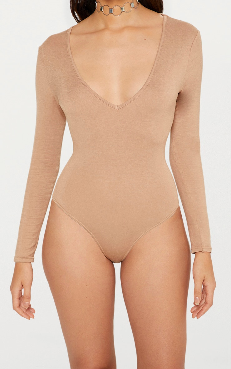 Basic Stone V Neck Long Sleeve Jersey Thong Bodysuit 5