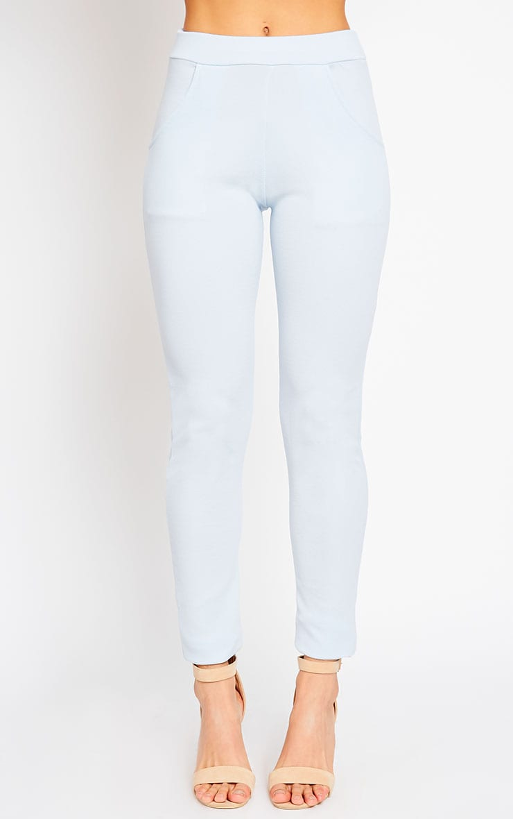 Sage Powder Blue Crepe Cigarette Trousers 2