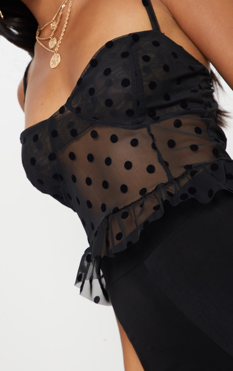 Petite Black Mesh Polka Dot Bralet Top 5
