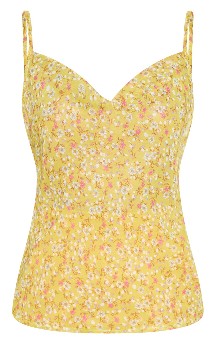 Multi Ditsy Floral Print Cowl Neck Cami Top 3