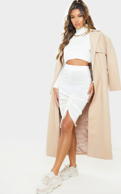 Ivory Ruched Front Knitted Midi Skirt