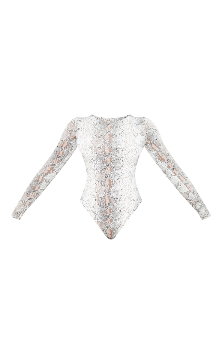 Tall Taupe Slinky Long Sleeve Snake Print Bodysuit 3