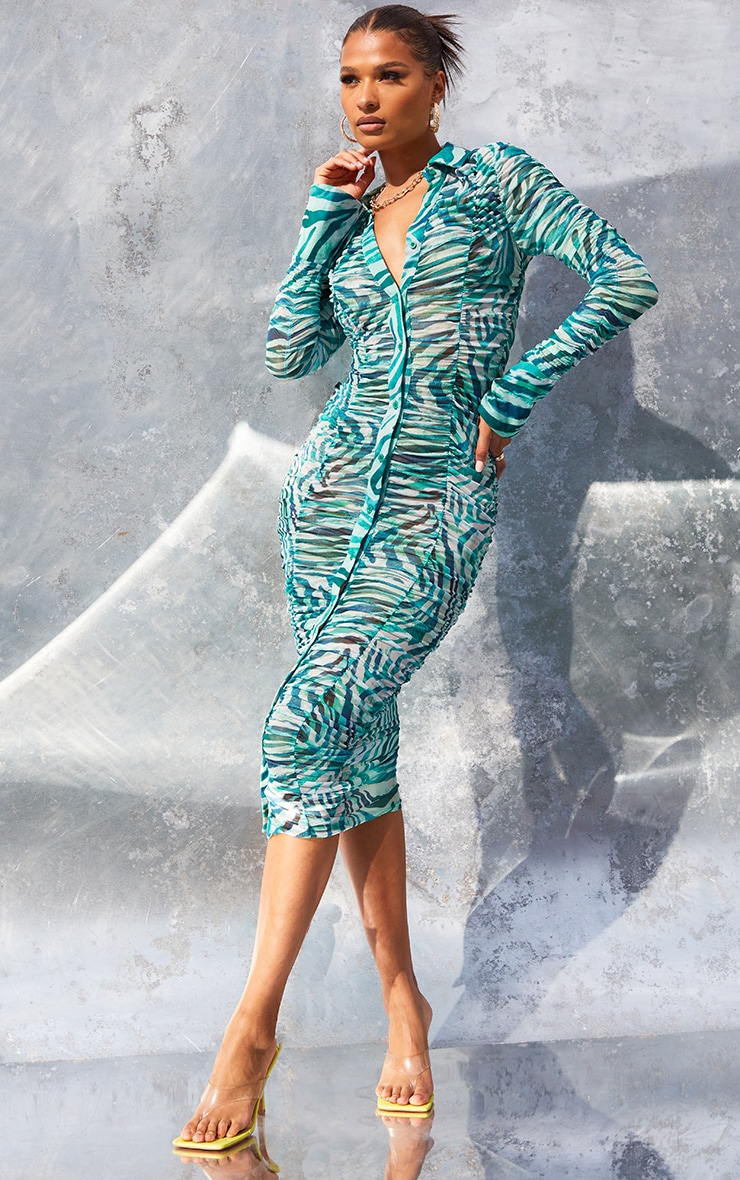 Green  Zebra Print Mesh Ruched Long Sleeve Midi Shirt Dress 3
