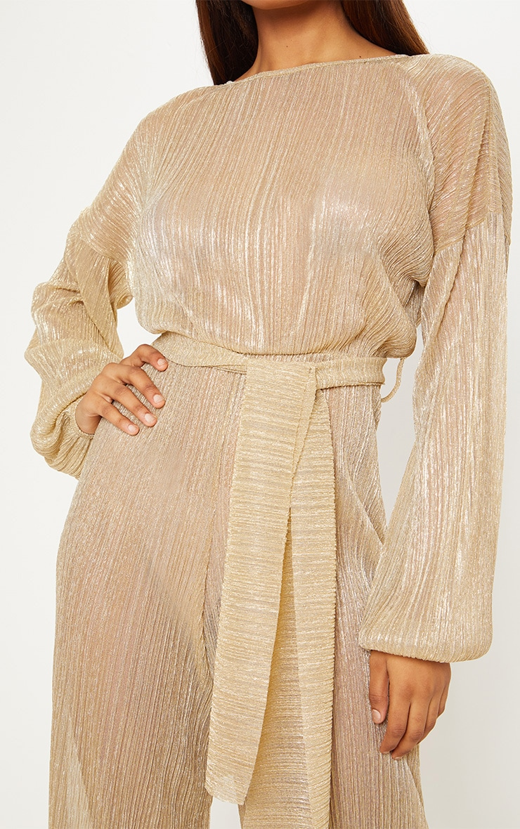Tall Gold Metallic Sheer Pleated Tie Waist Jumpsuit 5