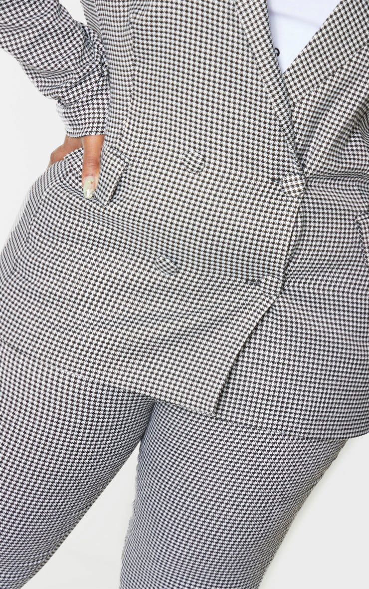 Plus Black Dogtooth Pocket Front Double Breasted Blazer 5