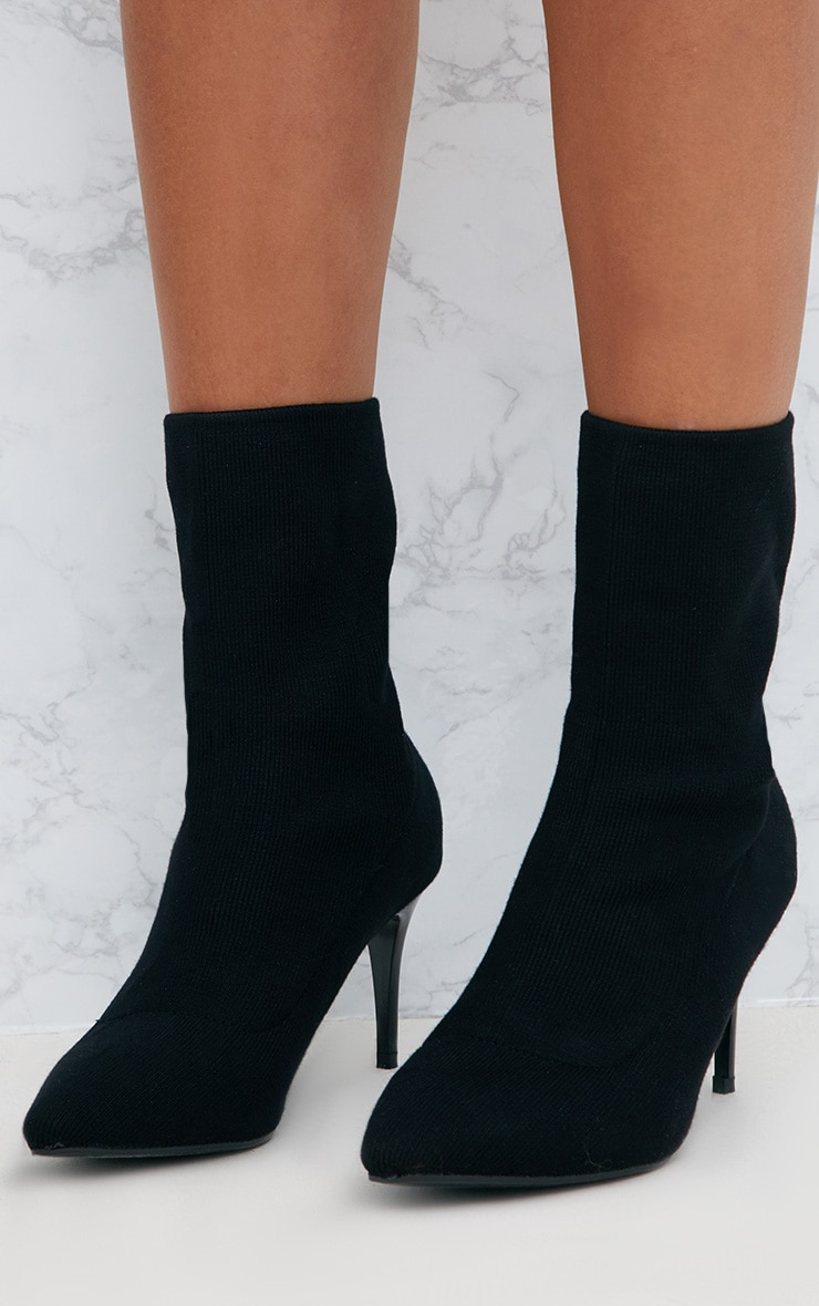 Black Mid Heel Ankle Sock Boot Boots Prettylittlething Usa