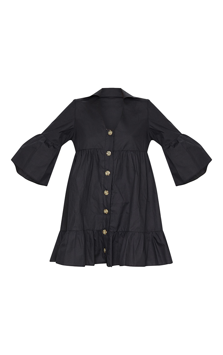 Black Button Front Tiered Smock Dress 5