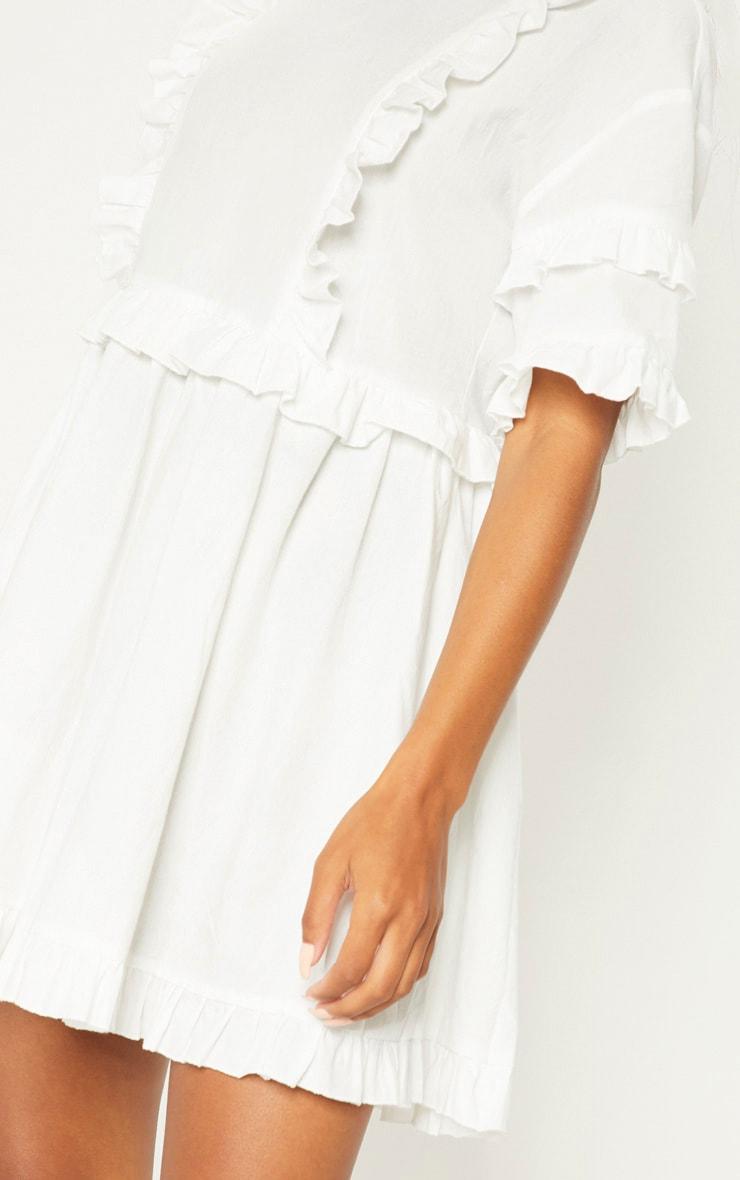 White Woven Frill Split Back Tea Dress 5