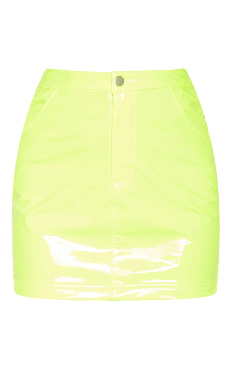 Neon Yellow Vinyl Mini Skirt  3