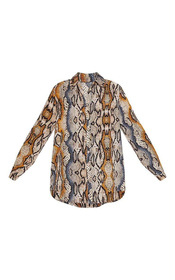 Stone Snake Print Oversized Shirt 2