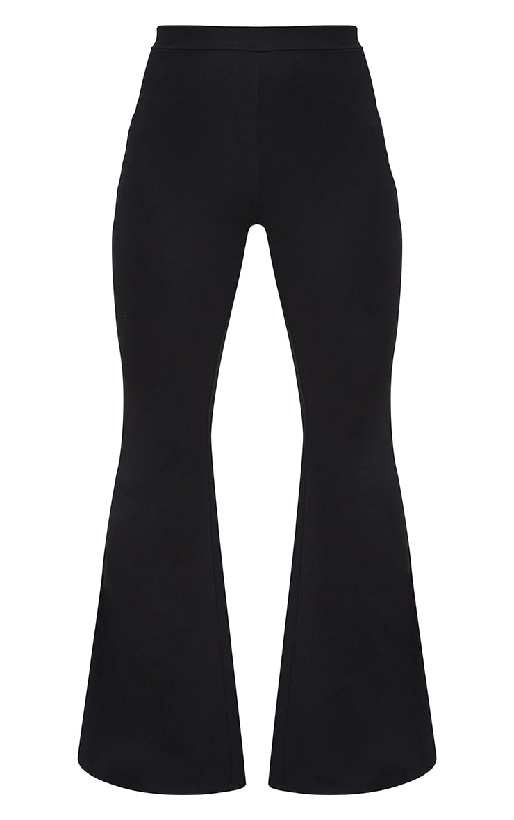 Black Fitted Wide Leg Trousers 3
