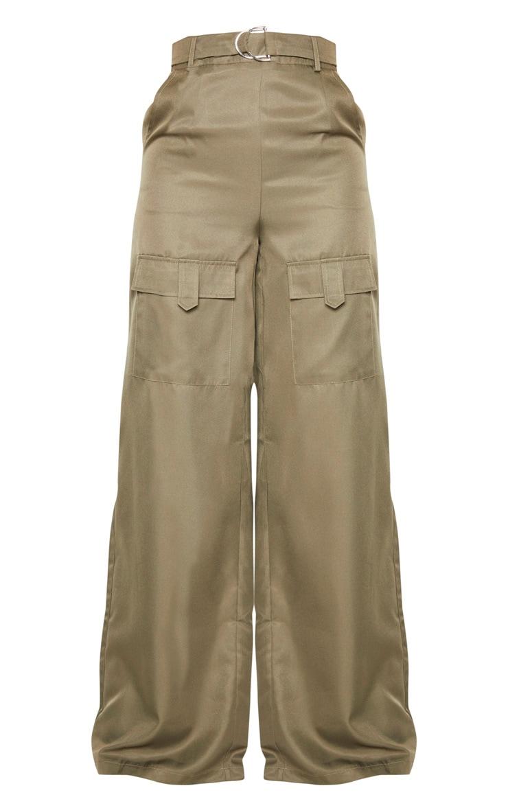 Tall Khaki Belted Cargo Wide Leg Pants  3