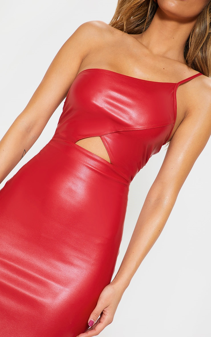 Red Faux Leather One Shoulder Cut Out Midi Dress 5