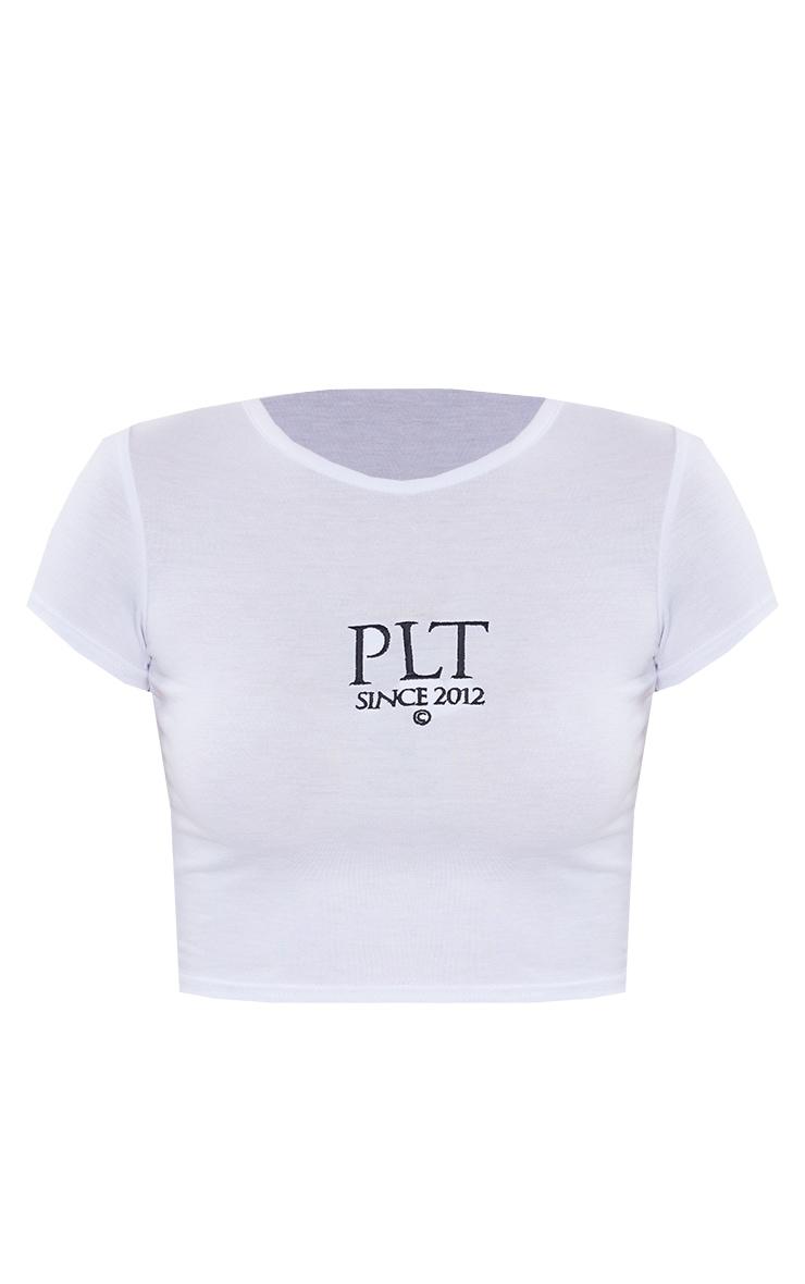 PRETTYLITTLETHING White Established Slogan Short Sleeve Crop T Shirt 5