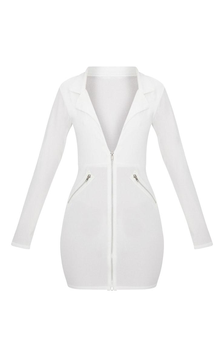 White Zip Detail Blazer Bodycon Dress 2