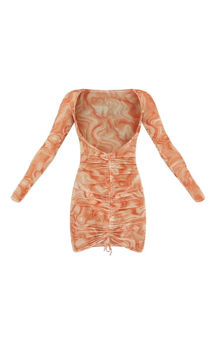 Robe froncée corail en mesh 5