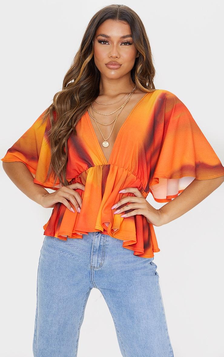 Orange Abstract Stripe Frill Blouse 1