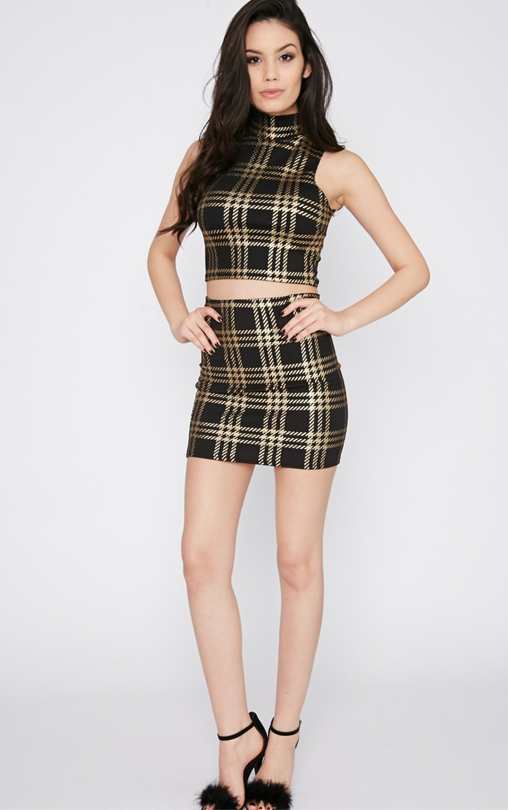 Totsi Black and Gold Checked Crop Top 4