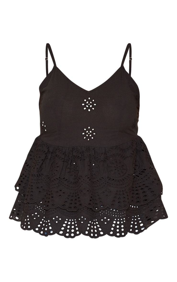 Black Broderie Anglaise Frill Hem Cami Top 3