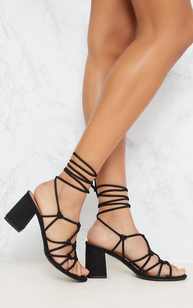 Black Block Heel Leg Tie Sandal 1