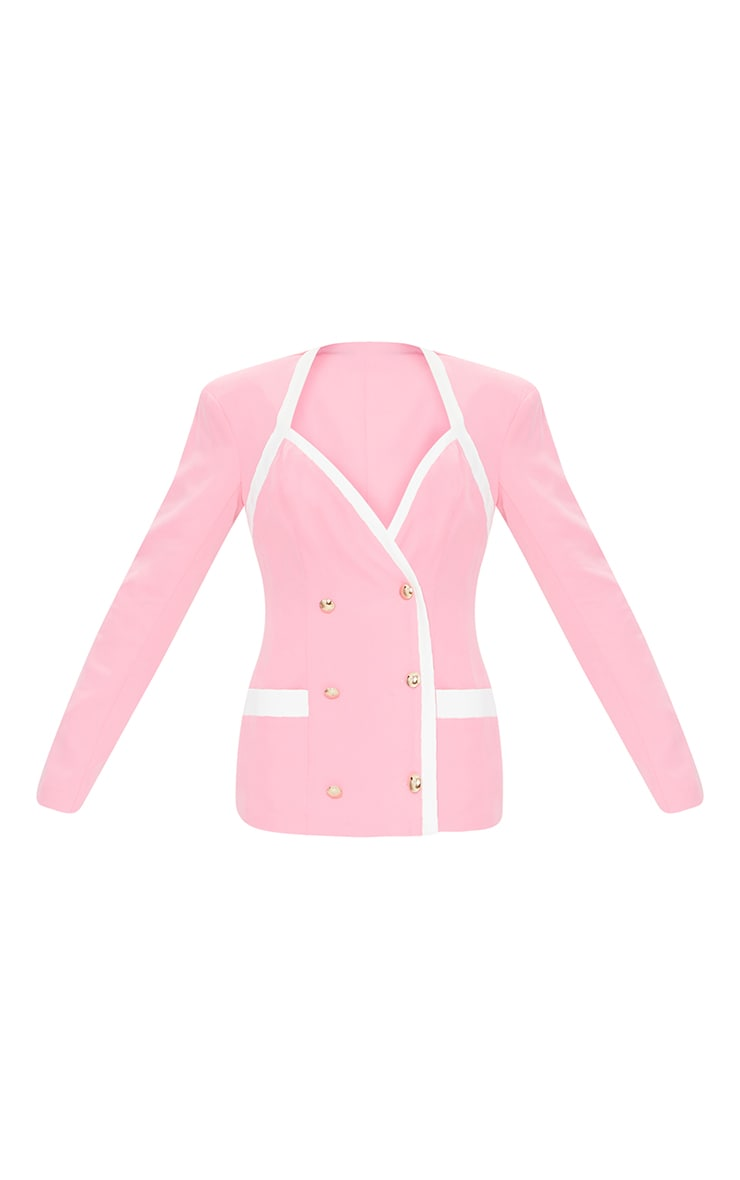Baby Pink Woven Contrast Military Shoulder Padded Blazer 5