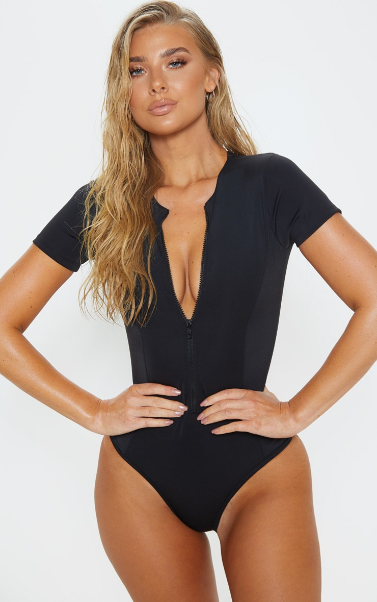 Black Scuba Zip Up Swimsuit 1