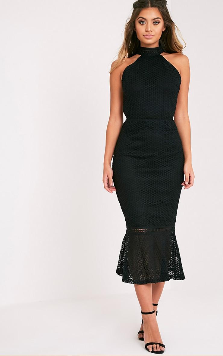 Kymmie Premium robe midi noire à col montant en dentelle 1